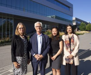 From left: Deborah Buszard, Minister Carr, Yu Teshima (fourth-year management student) and Ananya Mukherjee Reed